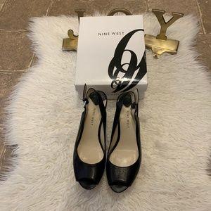 Nine West Black Leather Cork Wedge Peep Toe Heels